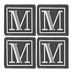 Slate Monogram M Coasters, Set of 4