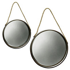 Round Metal Mirrors with Rope, Set of 2