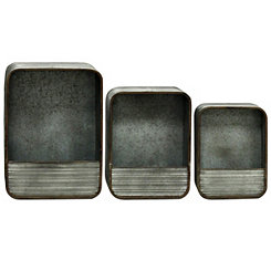 Rectangular Galvanized Wall Organizers, Set of 3