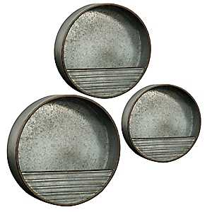 Round Galvanized Wall Organizers, Set of 3