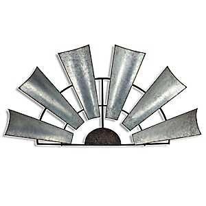 Galvanized Metal Half Windmill Wall Plaque