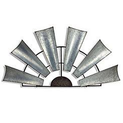 Galvanized Metal Half Windmill Wall Plaque