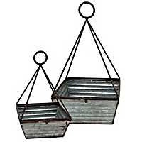 Rustic Galvanized Metal Square Baskets, Set of 2