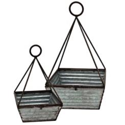 Rustic Galvanized Metal Square Baskets, Set of 2