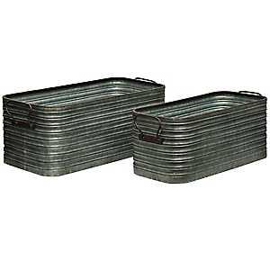 Rustic Galvanized Metal Storage Bins, Set of 2
