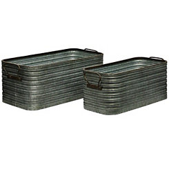 Rustic Galvanized Metal Storage Bins, Set of 2