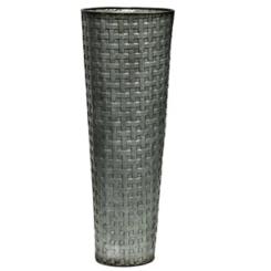 Basketweave Galvanized Metal Vase