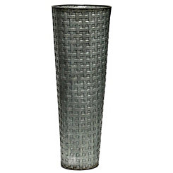 Basketweave Galvanized Metal Vase