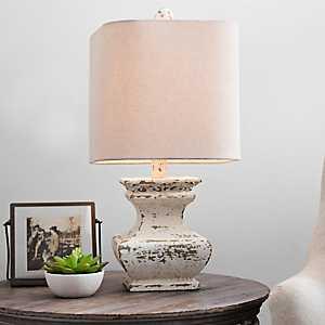 Distressed Cream Ava Table Lamp