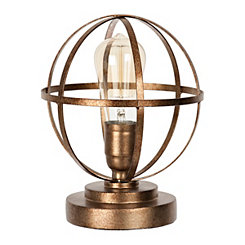 Antique Gold Metal Sphere Edison Bulb Table Lamp