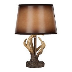 Brown Antique Antler Table Lamp with Leather Shade