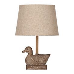 Brown Faux Wood Duck Table Lamp