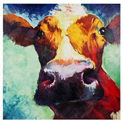 Up Close & Personal Cow Canvas Art Print