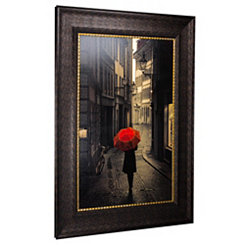 Red Rain Street Walk Framed Art Print