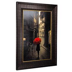 Red Rain Street Walk Framed Art Print