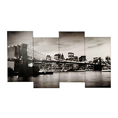 Staggered Brooklyn Bridge Canvas Art Print