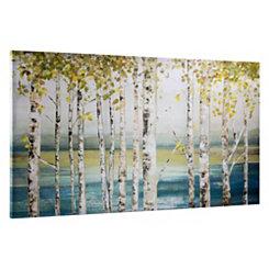 Abstract Birch Lake Canvas Art Print