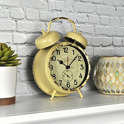 Yellow Double Bell Tabletop Alarm Clock
