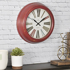 Red Relic Round Wall Clock