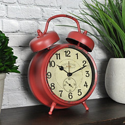 Red Double Bell Tabletop Alarm Clock