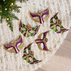 Mardi Gras Mask Ornaments, Set of 6