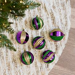 Mardi Gras Ribbed Ball Ornaments, Set of 6