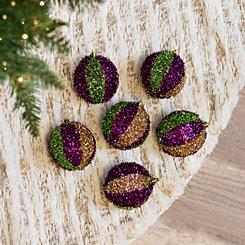 Mardi Gras Tinsel Ball Ornaments, Set of 6