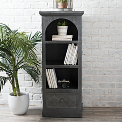Distressed Gray Arched Wooden Shelf