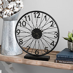 Distressed Bicycle Wheel Tabletop Clock