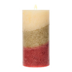 Tri-Color Stripe Pillar Candle, 6 in.