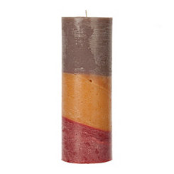 Tri-Color Rustic Pillar Candle, 10 in.