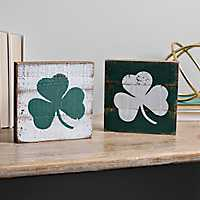 White and Green Clover Word Blocks, Set of 2