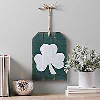 Green and White Clover Barnwood Wall Tag