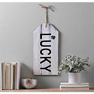 Lucky with Clover Distressed Barnwood Wall Tag