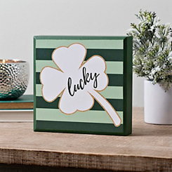 Lucky Clover with Green Stripes Word Block