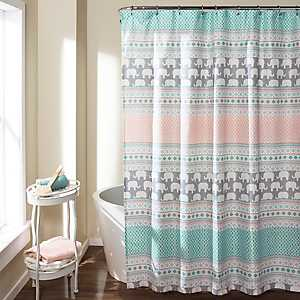 Elephant Striped Shower Curtain