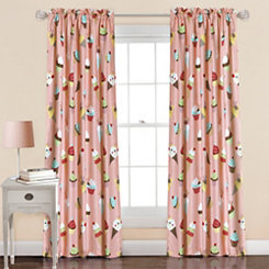 Pink Cupcake Ice Cream Curtain Panel Set, 84 in.
