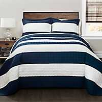 Navy Stripe 3-pc. Full/Queen Quilt Set