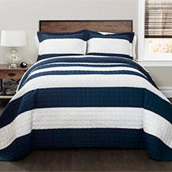 Navy Stripe 3-pc. Full/Queen Quilt Set
