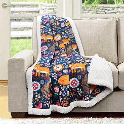Navy Pixie Fox Sherpa Blanket