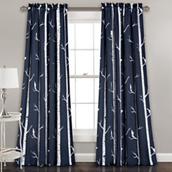 Navy Bird On The Tree Curtain Panel Set, 84 in.