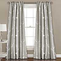 Gray Bird On The Tree Curtain Panel Set, 84 in.