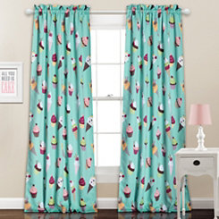 Blue Cupcake Ice Cream Curtain Panel Set, 84 in.