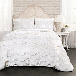 White Kemmy Ruffle 3-pc. King Quilt Set