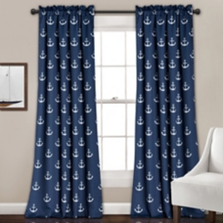 Navy Anchor Curtain Panel Set, 84 in.