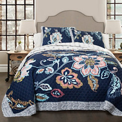 Navy Aster 3-pc. King Quilt Set