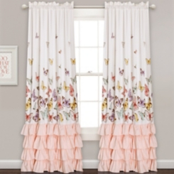 Pink Flutter Butterfly Curtain Panel Set, 84 in.