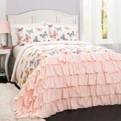 Pink Flutter Butterfly 3-pc. Full/Queen Quilt Set