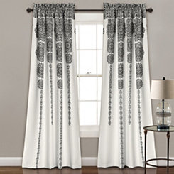 Black Medallion Stripe Curtain Panel Set, 84 in.