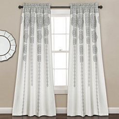 Gray Medallion Stripe Curtain Panel Set, 84 in.